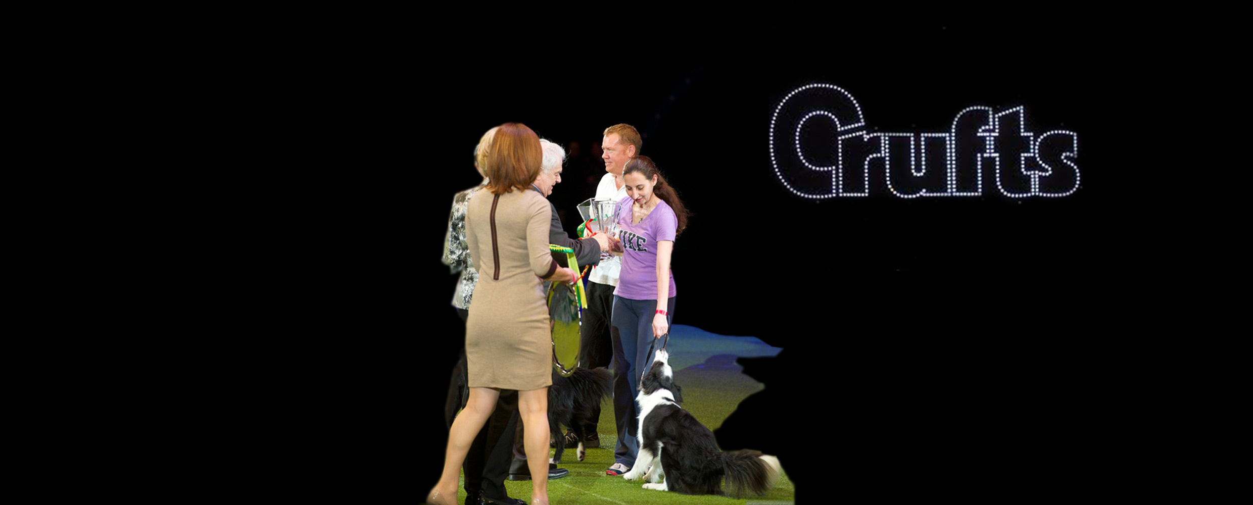 Alison Roets with Border Collie Ostara at Crufts prize giving