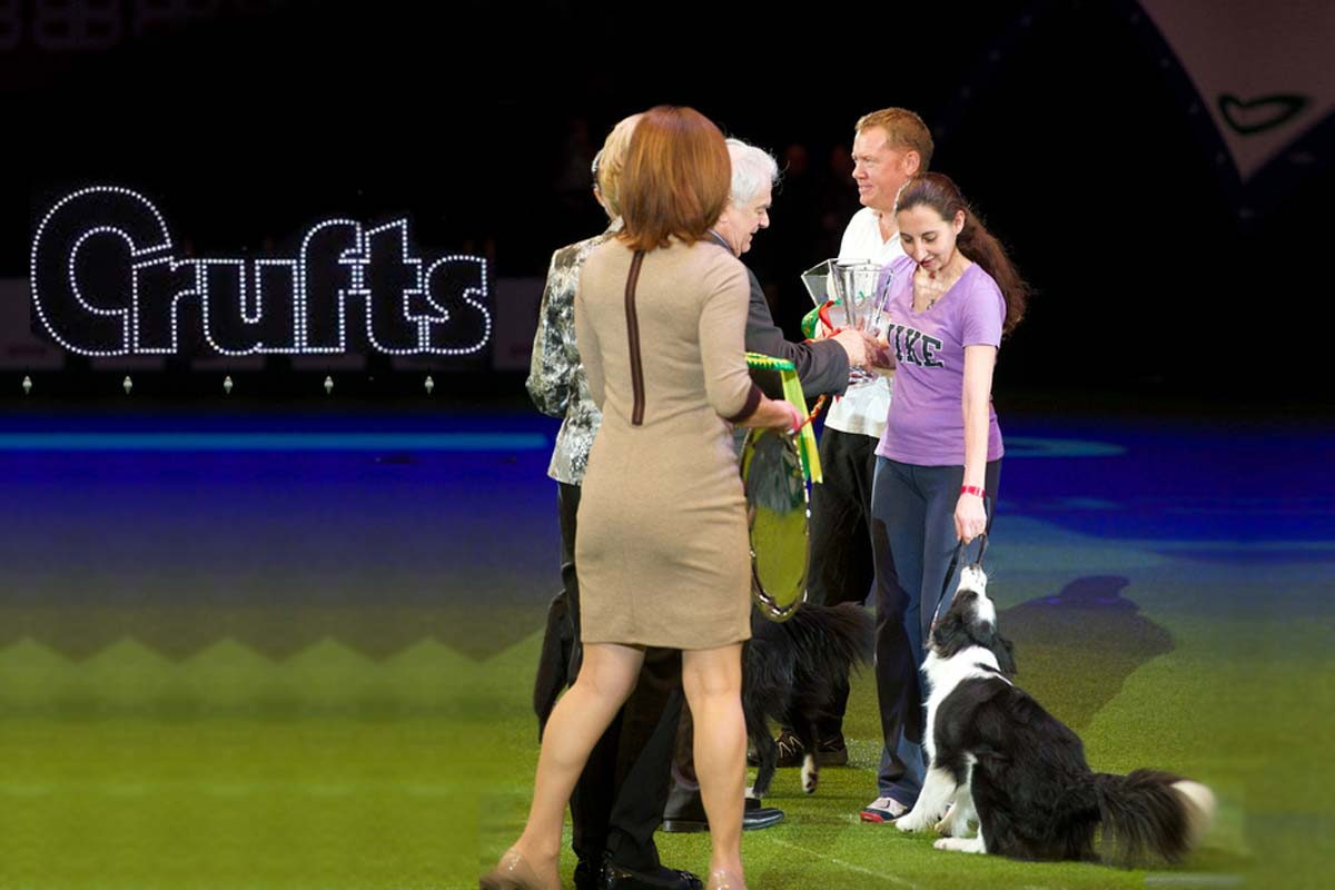 Alison Roets and Border Collie Ostara at Crufts Championship final prize giving 2nd place