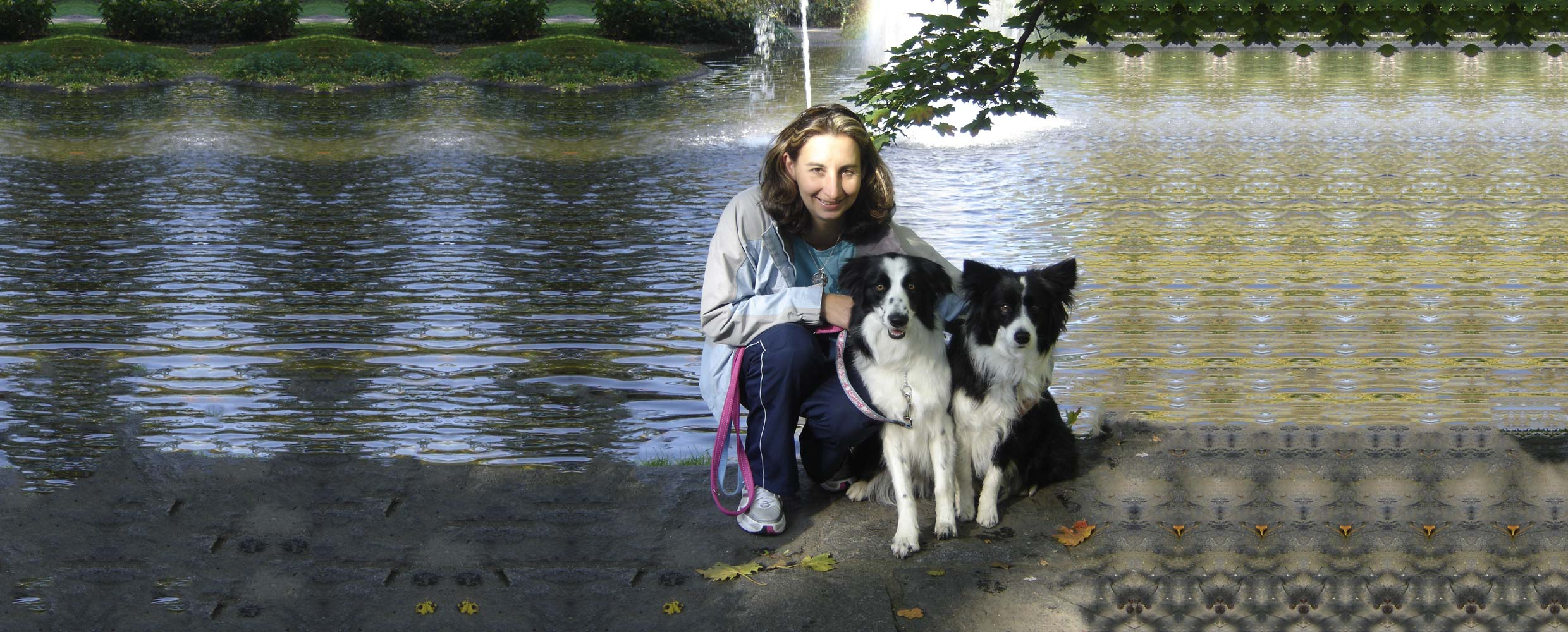 Alison Roets with Border Collies Freya and Ostara crouching by a lake in Finland