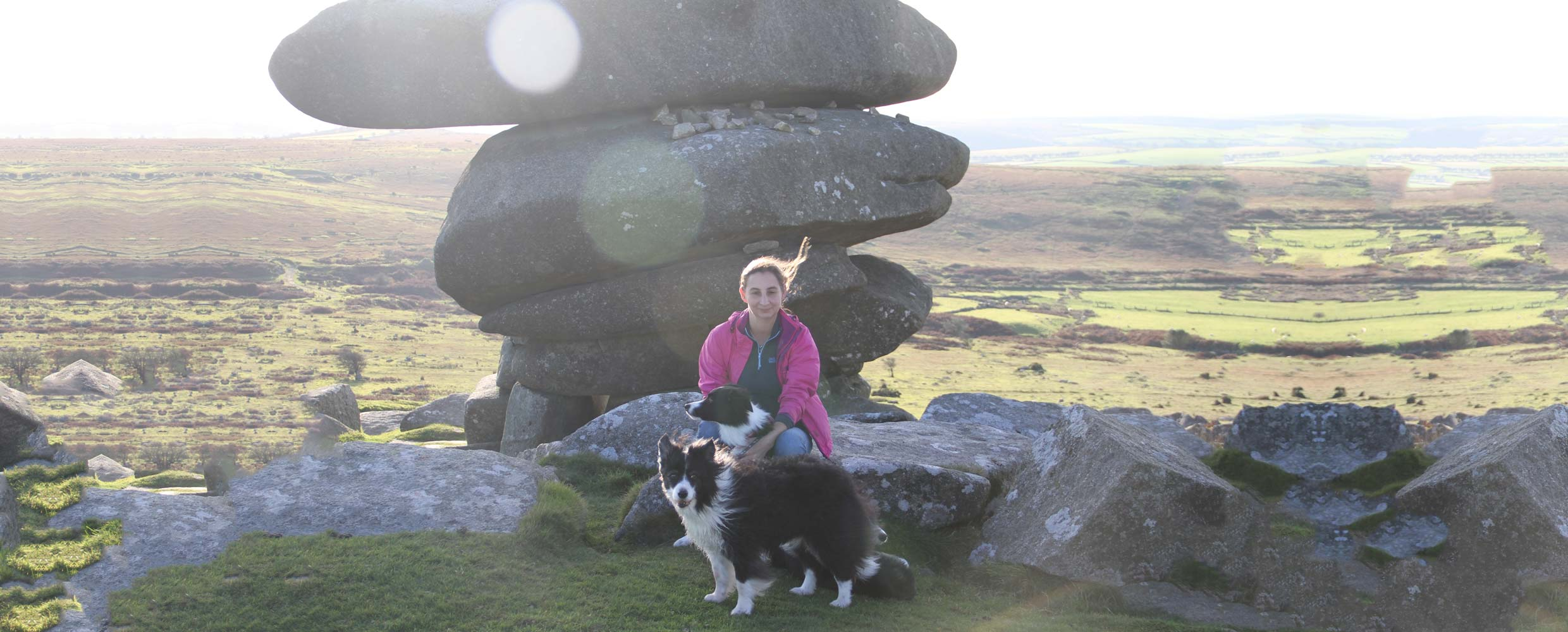 Alison Roets with Border Collie Freya and Muse, Cornwall
