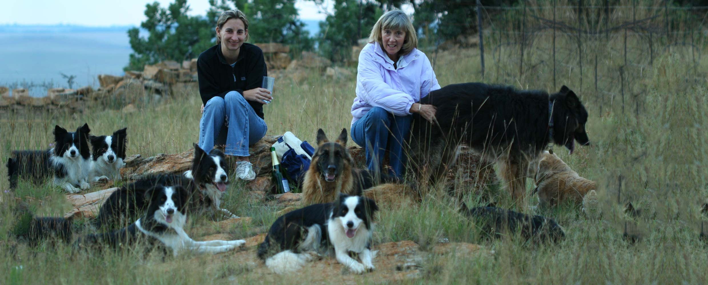 Alison and Denise Roets with their dogs in Magaliesburg
